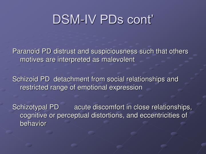 DSM-IV PDs cont'