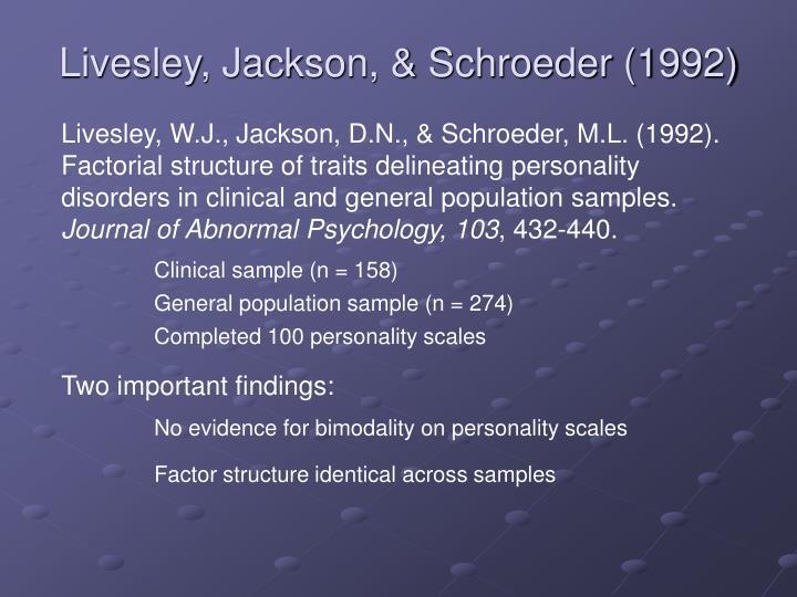 Livesley, Jackson, & Schroeder (1992)