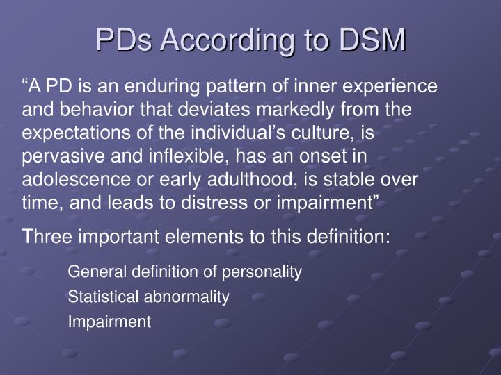Pds according to dsm