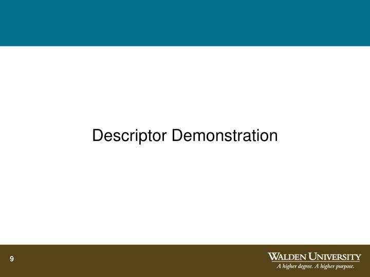 Descriptor Demonstration