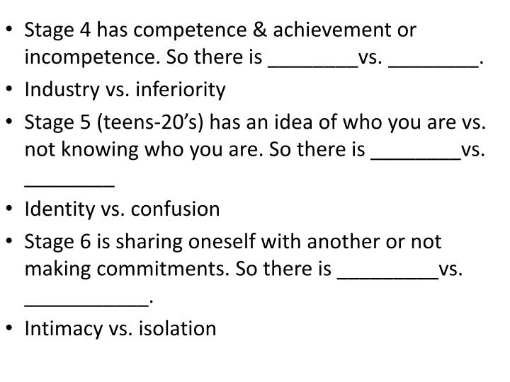 Stage 4 has competence & achievement or incompetence. So there is ________vs. ________.