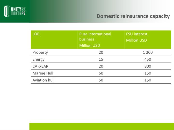 Domestic reinsurance capacity