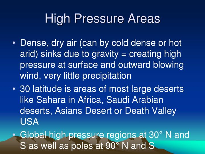 High Pressure Areas