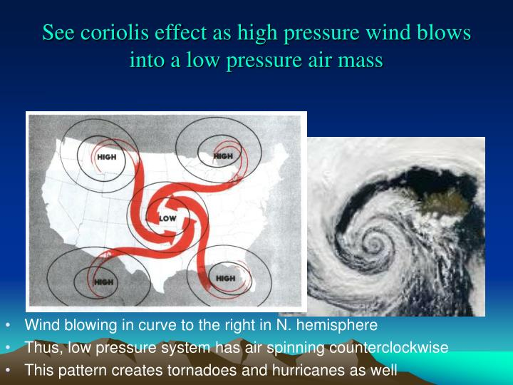 See coriolis effect as high pressure wind blows into a low pressure air mass