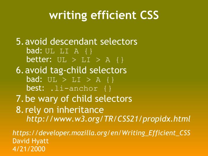writing efficient CSS