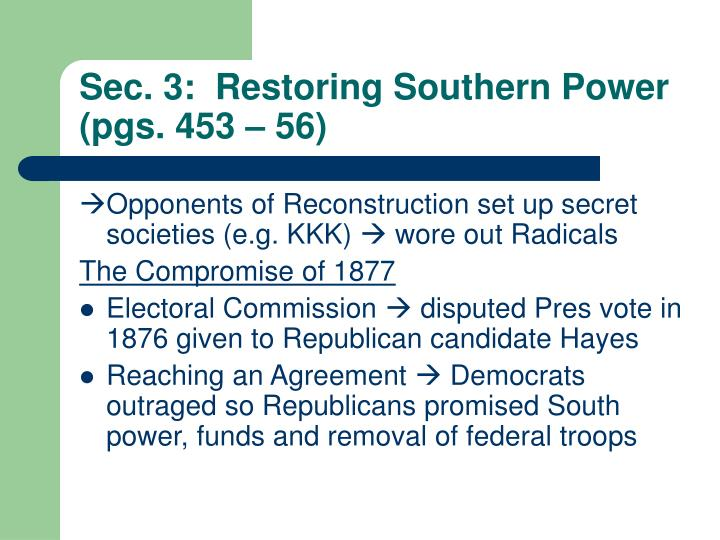 Sec. 3:  Restoring Southern Power