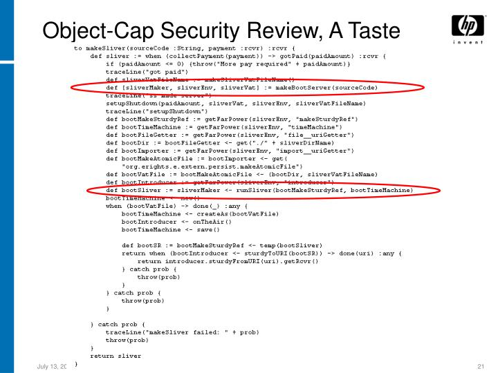 Object-Cap Security Review, A Taste