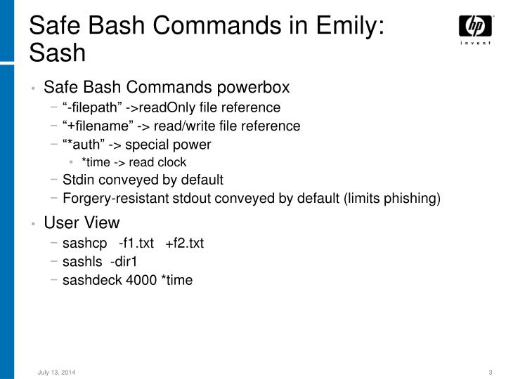 Safe Bash Commands in Emily: Sash