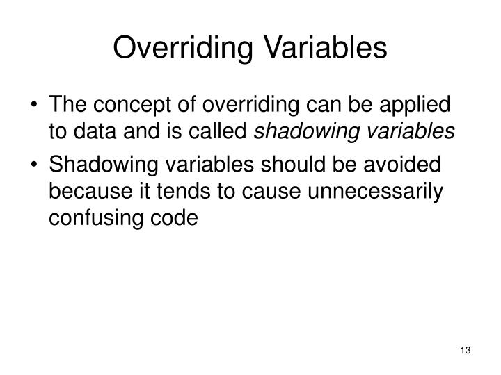 Overriding Variables