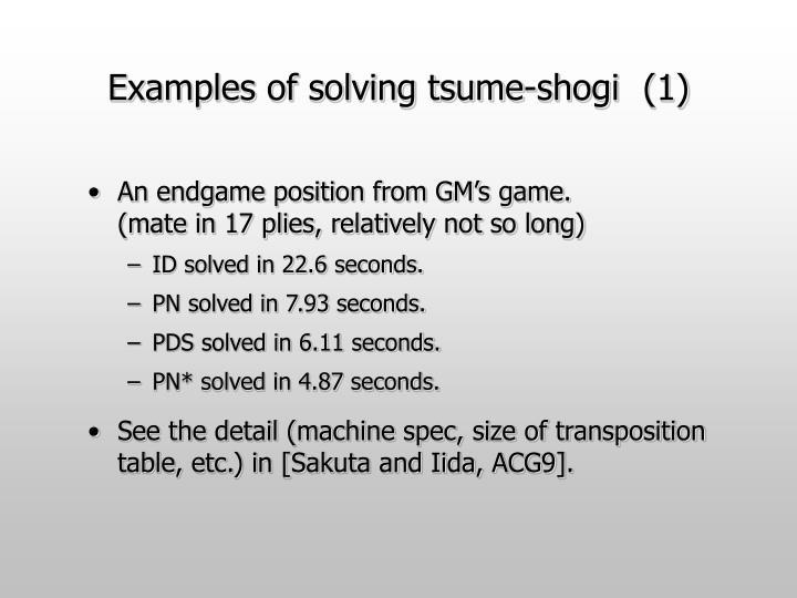 Examples of solving tsume-shogi (1)