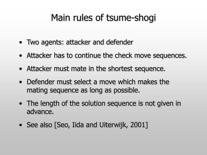Main rules of tsume shogi