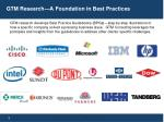 gtm research a foundation in best practices
