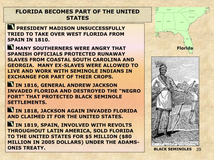 FLORIDA BECOMES PART OF THE UNITED STATES