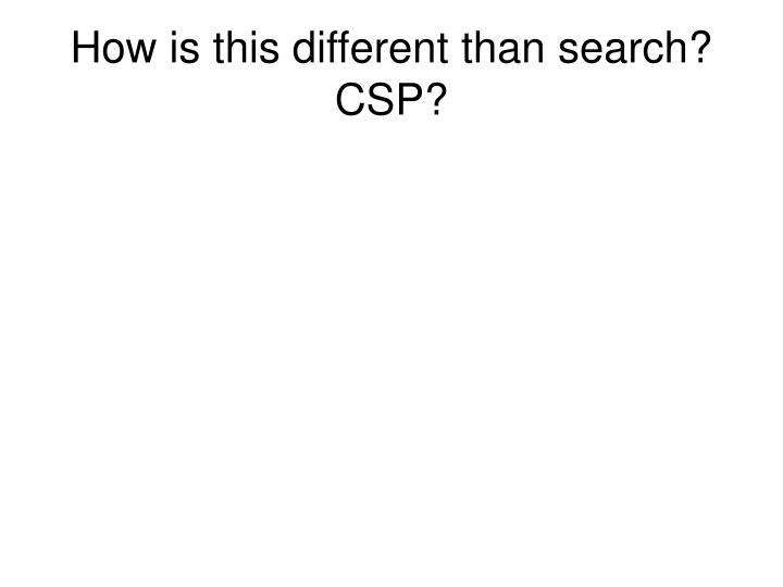 How is this different than search?  CSP?