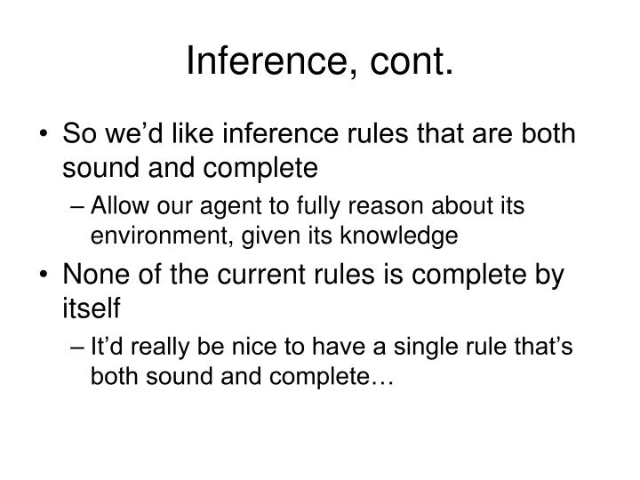 Inference, cont.
