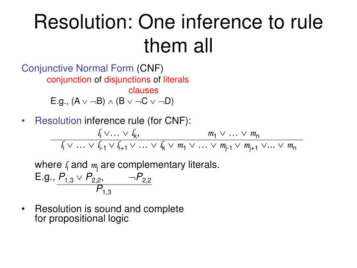 Resolution: One inference to rule them all
