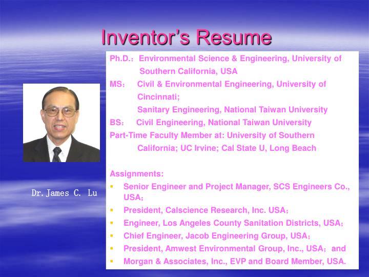 Inventor's Resume