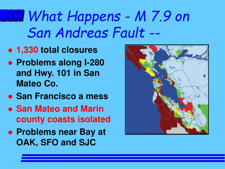 What Happens - M 7.9 on San Andreas Fault --