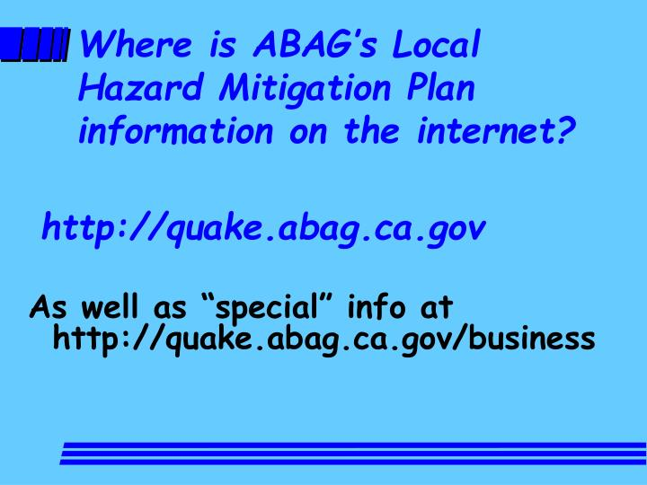 Where is ABAG's Local Hazard Mitigation Plan information on the internet?