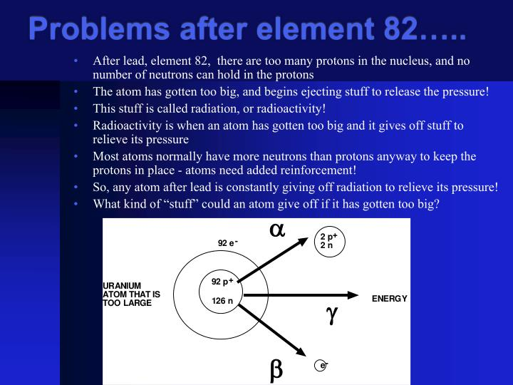 Problems after element 82…..