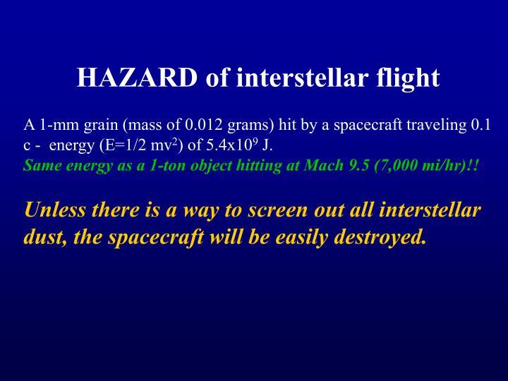 HAZARD of interstellar flight