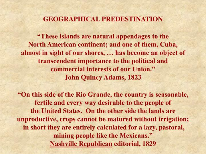 GEOGRAPHICAL PREDESTINATION