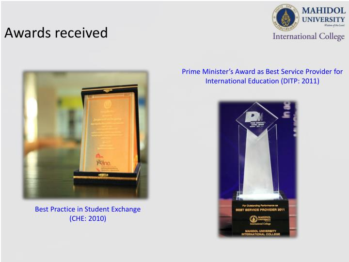 Awards received