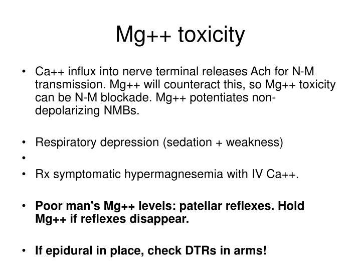 Mg++ toxicity