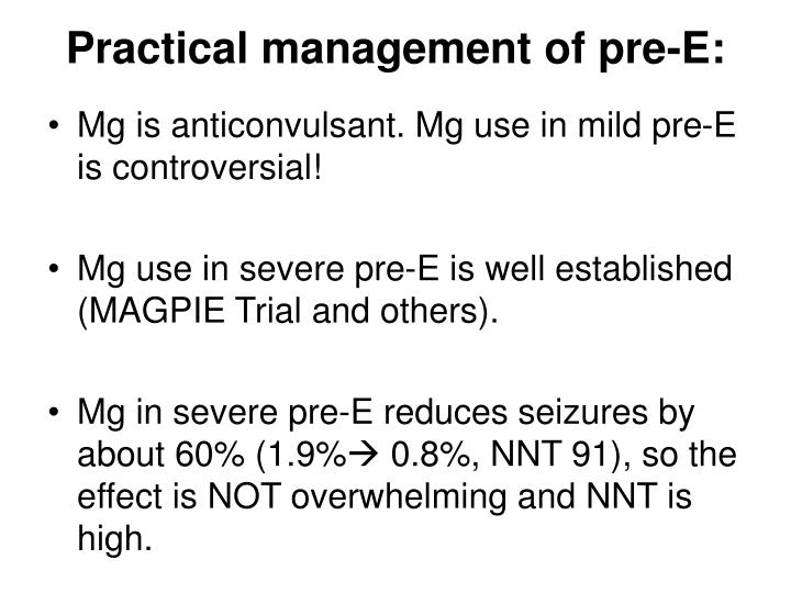 Practical management of pre-E: