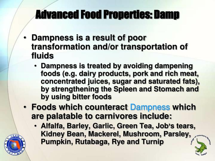 Advanced Food Properties: Damp