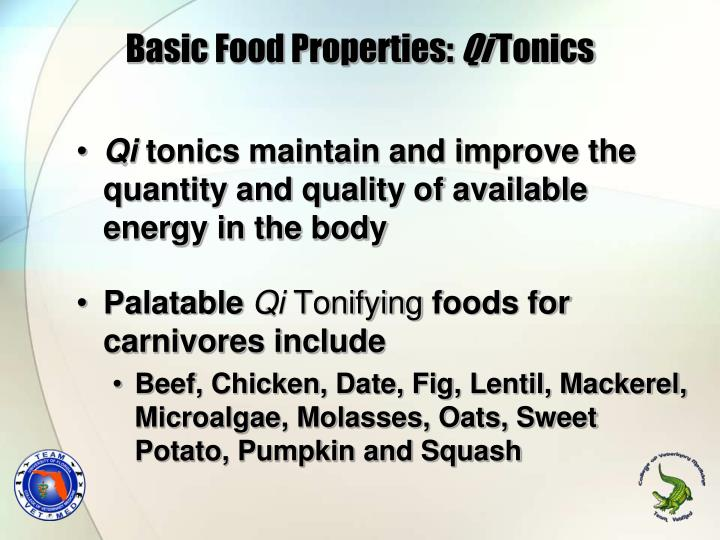 Basic Food Properties: