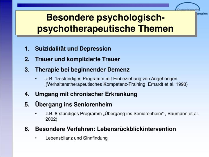 Besondere psychologisch-psychotherapeutische Themen