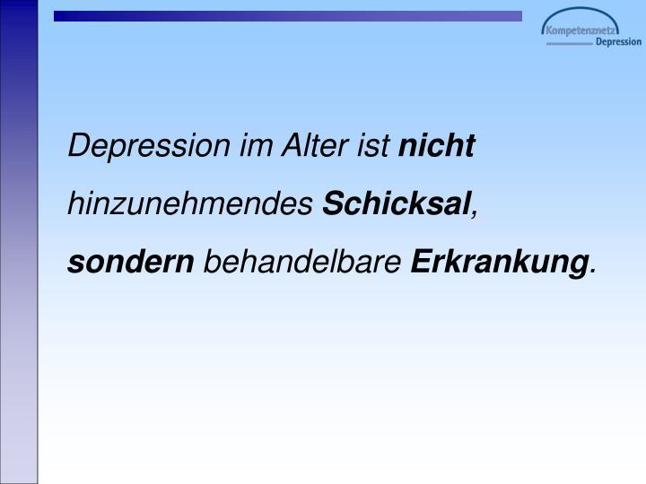 Depression im Alter ist