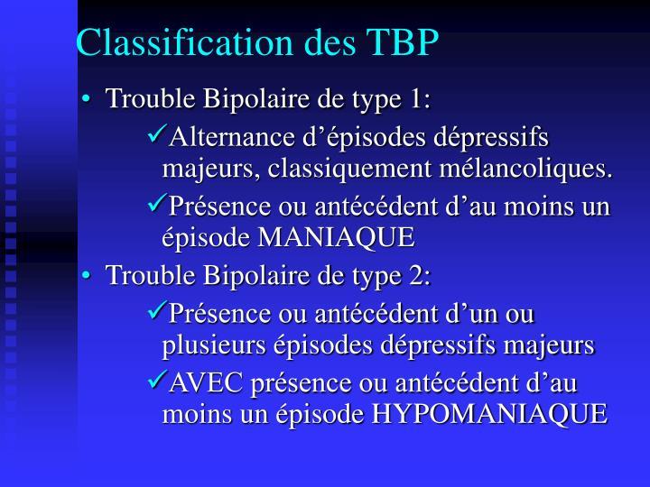 Classification des TBP