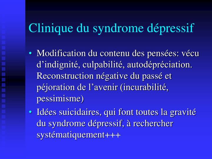 Clinique du syndrome dépressif