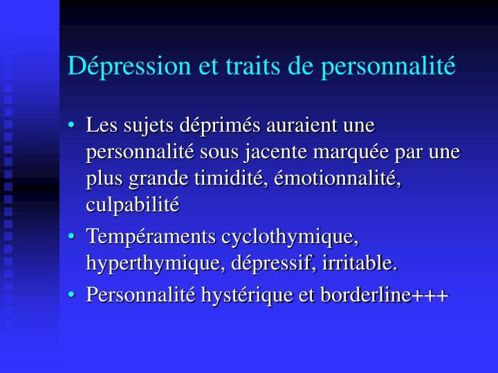 Dépression et traits de personnalité