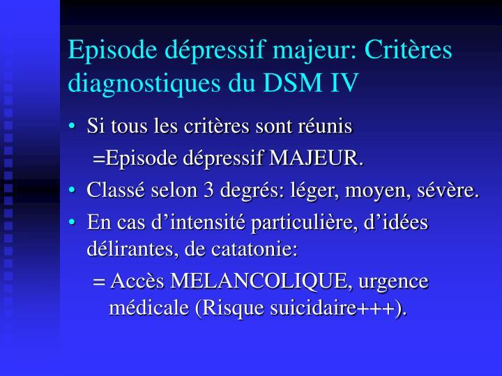 Episode dépressif majeur: Critères diagnostiques du DSM IV