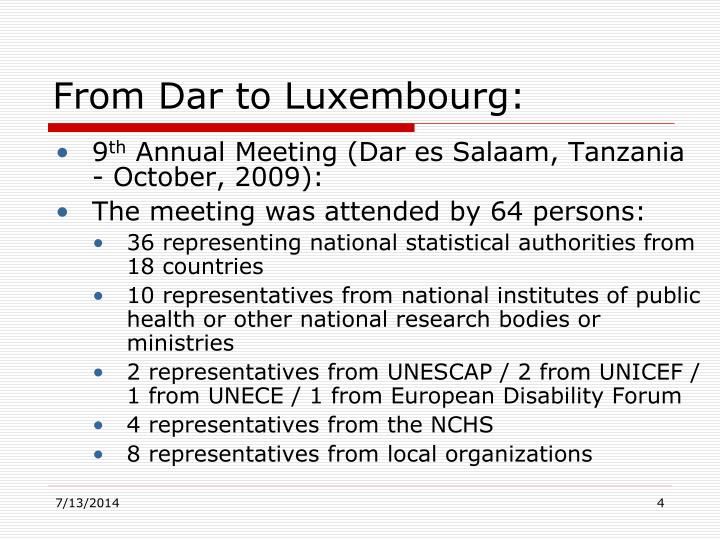 From Dar to Luxembourg: