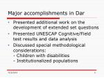 major accomplishments in dar