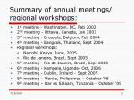 summary of annual meetings regional workshops