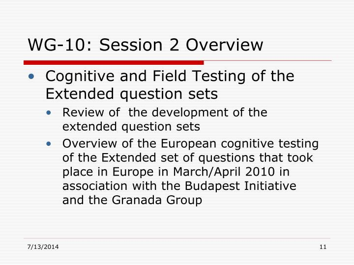 WG-10: Session 2 Overview