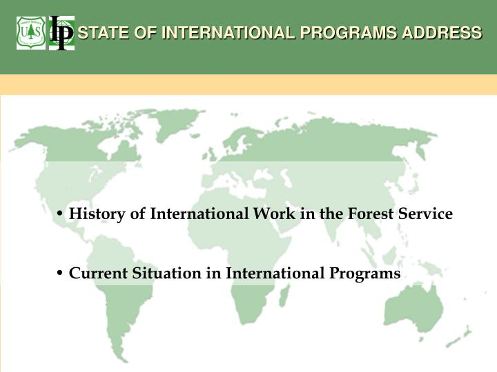 STATE OF INTERNATIONAL PROGRAMS ADDRESS