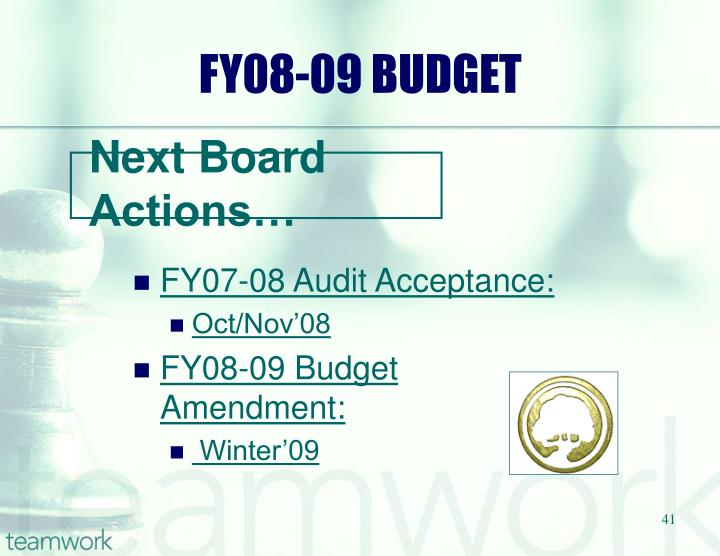 FY08-09 BUDGET