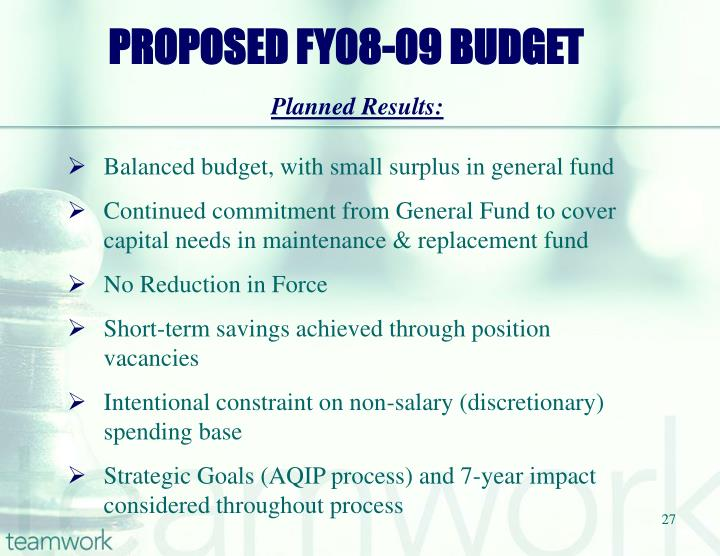 PROPOSED FY08-09 BUDGET