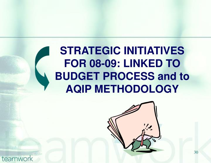 STRATEGIC INITIATIVES FOR 08-09: LINKED TO BUDGET PROCESS and to AQIP METHODOLOGY