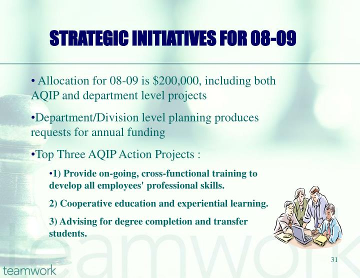 STRATEGIC INITIATIVES FOR 08-09