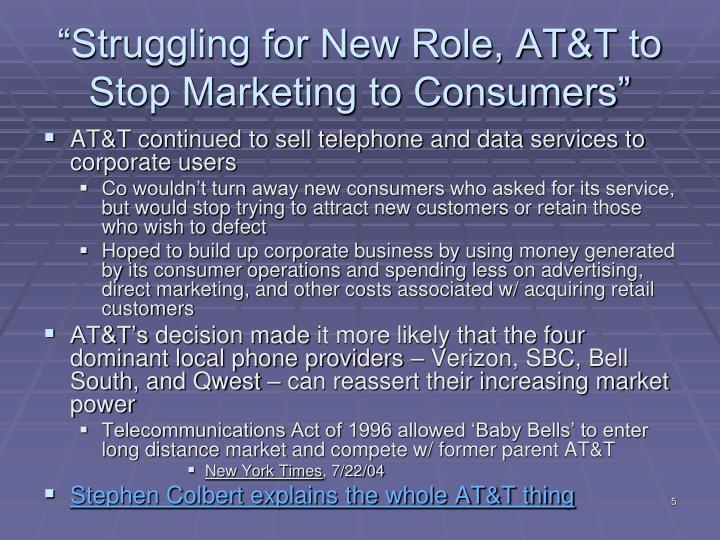 """Struggling for New Role, AT&T to Stop Marketing to Consumers"""