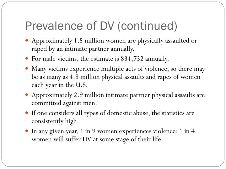 Prevalence of DV (continued)