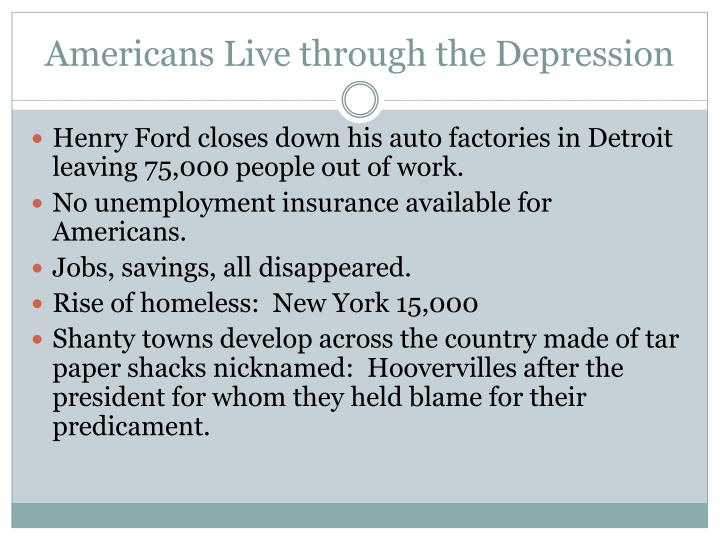 Americans Live through the Depression