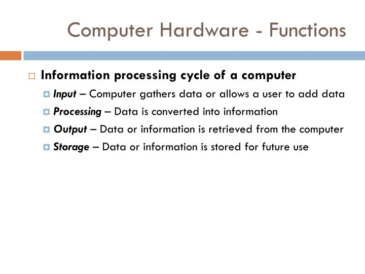 Computer Hardware - Functions